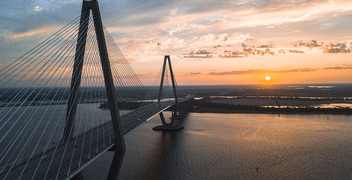 Arthur Ravenel Jr. Bridge in South Carolina, at sunset