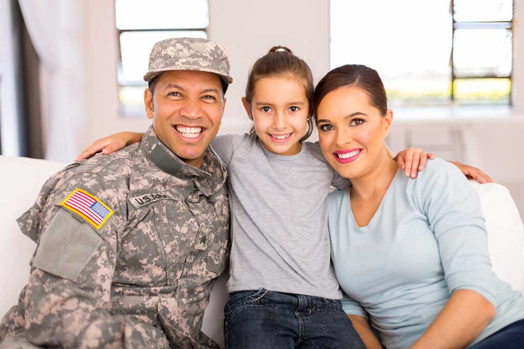 Disabled Veteran with wife and daughter
