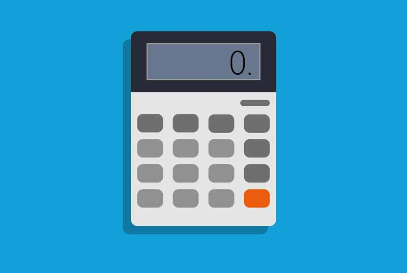 calculator graphic on blue background