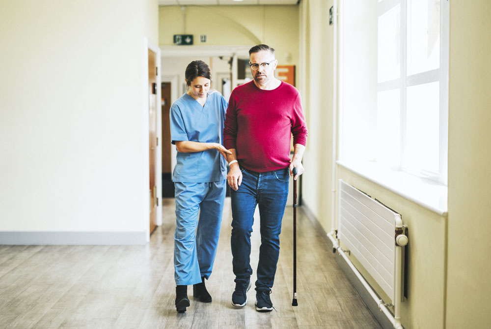 Social Security Disability Help. Disability Patient in Charleston SC using walking assistive device